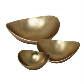 S/3 Aluminum Bowls, Matte Gold