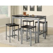 Casual Black and Silver Metal Five Piece Dining Set Product Image