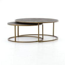 Antique Brass Finish Shagreen Nesting Coffee Table