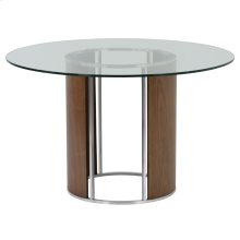 Armen Living Delano Round Dining Table in Brushed Stainless Steel with Clear Tempered Glass Top and Walnut Column