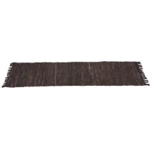 Brown & Black Leather Chindi 2'x6' Rug (Each One Will Vary)