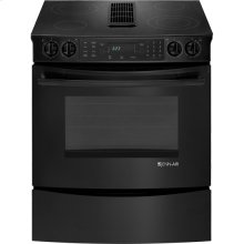 """30"""" Slide-In Electric Downdraft Range with Convection, Black Floating Glass w/Handle"""