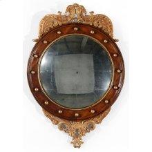 Regency Walnut & Gilt Round Convex glomise Mirror (Medium)