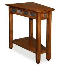Rustic Oak Slate Tile Wedge Side Table #10056