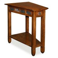 Rustic Oak Slate Tile Wedge Side Table #10056