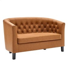 Prospect Upholstered Vinyl Loveseat in Tan