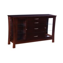 4 Drawer Sideboard with Glass Sides & Doors