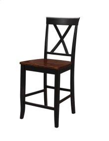 X Back Barstool W/wood Seat Rta