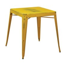 Bristow Antique Metal Table In Antique Yellow With Blue Specks (kd)