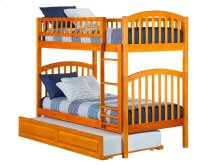 Richland Bunk Bed Twin over Twin with Raised Panel Trundle Bed in Caramel Latte