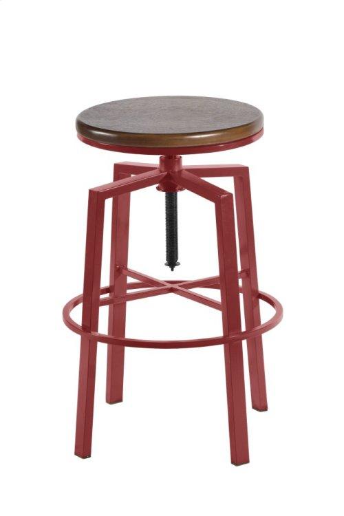 "Dorian Backless Adjustable Barstool, Red,18""x18""x24""-30"""
