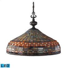 Jewelstone 3-Light Chandelier in Classic Bronze with Tiffany Style Glass - Includes LED Bulbs