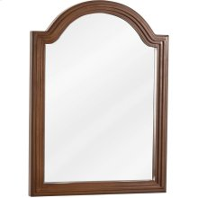 """22"""" x 30"""" Reed-frame mirror with beveled glass and Walnut finish."""