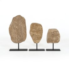 Travertine Finish Roclay Sculptures, Set of 3