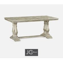 "71"" Rustic Grey Rectangular Fixed Top Dining Table"
