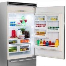 "Professional Built-In 36"" Bottom Freezer Refrigerator - Solid Stainless Steel Door - Right Hinge, Slim Designer Handle"