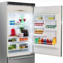 "Professional Built-In 36"" Bottom Freezer Refrigerator - Solid Stainless Steel Door - Right Hinge, Slim Designer Handle"