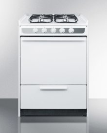"""Slide-in Gas Range In Slim 24"""" Width, With White Porcelain Construction and Four Sealed Burners"""
