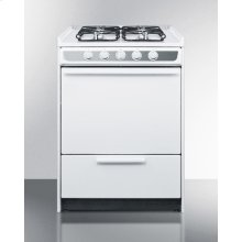 "Slide-in Gas Range In Slim 24"" Width, With White Porcelain Construction and Four Sealed Burners"