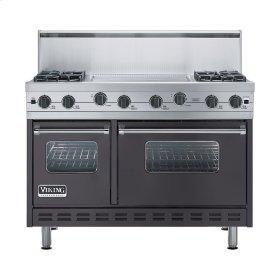 """Graphite Gray 48"""" Sealed Burner Range - VGIC (48"""" wide, four burners 24"""" wide griddle/simmer plate)"""