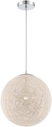 Pendant Lamp, Chrome/paper Wire Shade, E27 Type A 100w