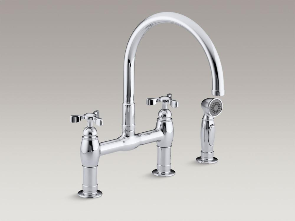 Hidden · Additional Vibrant Polished Nickel Two Hole Deck Mount Bridge  Kitchen Sink Faucet With 9