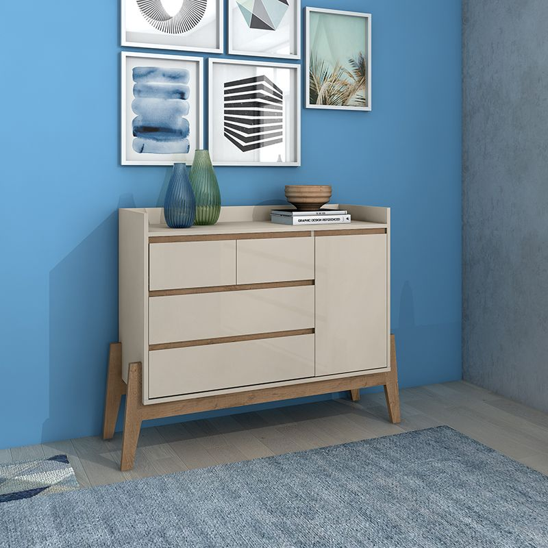 """Essence 49"""" Wide Dresser with 4 Full Extension Drawers and Table Top in Off White"""
