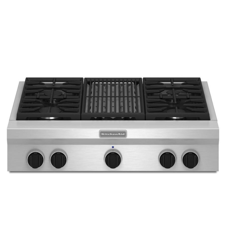 KitchenAid® 36-Inch 4-Burner with Grill, Gas Rangetop, Commercial-Style - Stainless Steel