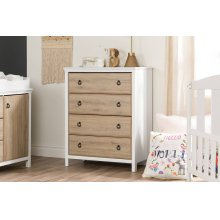 4-Drawer Chest Dresser - Pure White and Rustic Oak
