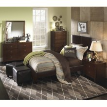 New Albany 5-Pc. Full Bedroom Set - Full Faux Leather Bed, 6-Drawer Dresser, Mirror, Nightstand, 5-Drawer Chest