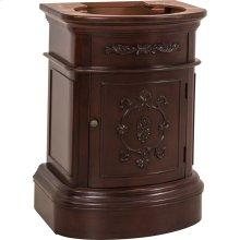 """25-3/4"""" vanity base with Merlot finish, carved floral details, and elegant curves"""