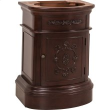 "25-3/4"" vanity base with Merlot finish, carved floral details, and elegant curves"
