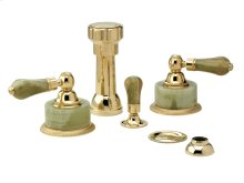 Four Hole Bidet Set Green Onyx - Polished Brass