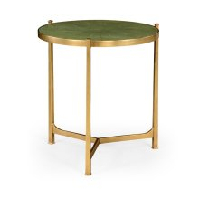 Large Green Round Faux Shagreen Gilded Side Table