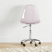Acrylic Office Chair with Wheels - Clear Pink Blush