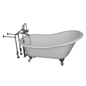 "Griffin 61"" Cast Iron Slipper Tub Kit - Brushed Nickel Accessories - White"