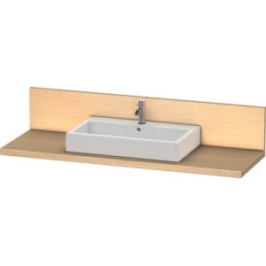 Console + Back Panel For Above-counter Basin And Vanity Basin, Brushed Oak (real Wood Veneer)