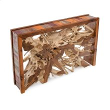 Hand Hewn Teak Console Table With Barnwood Sides - (back To the Barn)