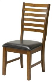 St. Michael Slat Back Side Chair w/ Dark Brown Vinyl Seat