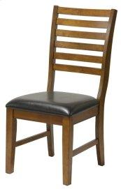 St. Michael Slat Back Side Chair w/ Dark Brown Vinyl Seat