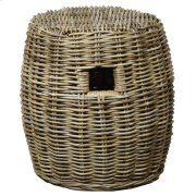 Kubu Drum Rattan Stool, Gray Product Image