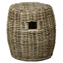 Kubu Drum Rattan Stool, Gray