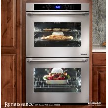 """Renaissance 30"""" Double Wall Oven in Stainless Steel - ships with Epicure Style stainless steel handle with chrome end caps"""