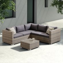 Armen Living Nina 3 piece Outdoor Rattan Sectional Set with Dark Brown Cushions and Modern Accent Pillows