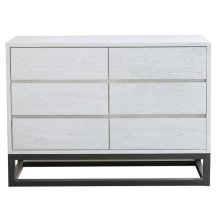 White Six Drawer Dresser