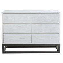 Modern White 6 Drawer Dresser