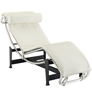 Charles Leather Chaise Lounge in White