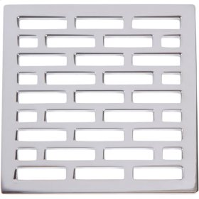 """Uncoated Polished Brass - Living 4"""" Square Shower Drain"""