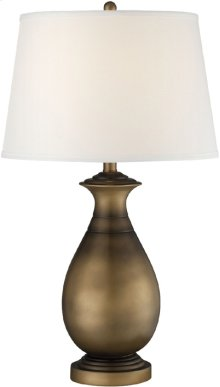 Table Lamp, Dark Brass Finished/off/white Shade, E27 Cfl 23w