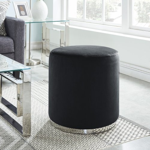 Opus Round Ottoman in Black & Silver